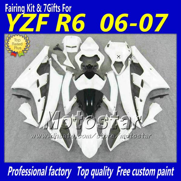 Kit complet de carénage en plastique ABS pour YAMAHA YZF-R6 06 07 YZFR6 blanc noir carrosserie sur mesure 2006 2007 carénage YZF R6 YZF600
