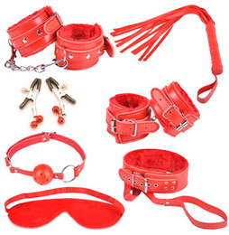 Discount bondage kit bdsm collar - wistiti Bondage set 7 kits for foreplay sex games fur handcuffs eyeshade ankle cuff collar leather whip ball gag BDSM 00