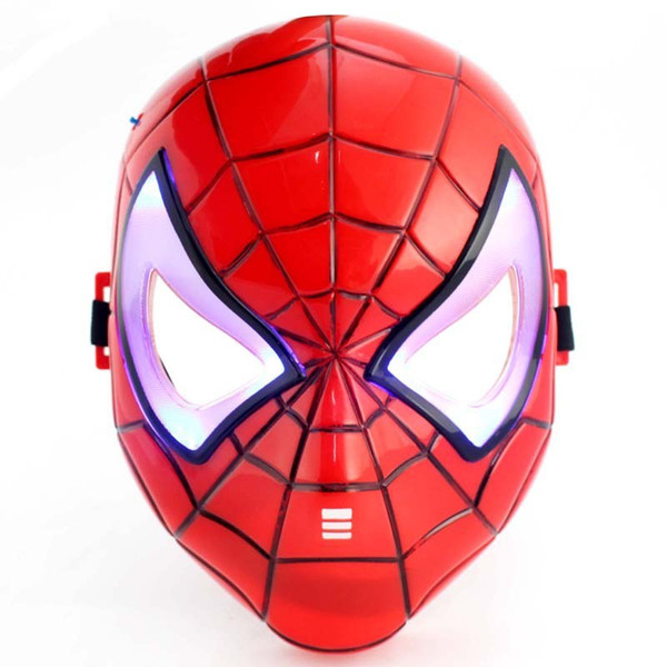Glow In The Dark LED Iron Man Spider Man Mask Movie Guy Mask Hero Face Guard for Halloween Cosplay party Costume Theater Prop Free Shipping