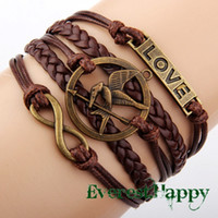 Wholesale Silver Infinity Bracelet Brown - Antique Silver Charm Love Infinity Hunger Games Birds Braided Brown cord Leather Mixed Bracelet Wristbands Xmas Gift jewelry hy1039