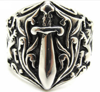 Wholesale Band Sword - Europe Style Mens 316L stainless Steel Cool Sword Lion Silver Ring Guarantee 100%