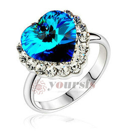 Wholesale Heart Ocean Jewelry Set - Yoursfs Austrian Crystal Rings 18 K White Gold Plated Use Austria Crystal Engagement Heart Of Ocean Bridal Wedding Rings for Women Jewelry