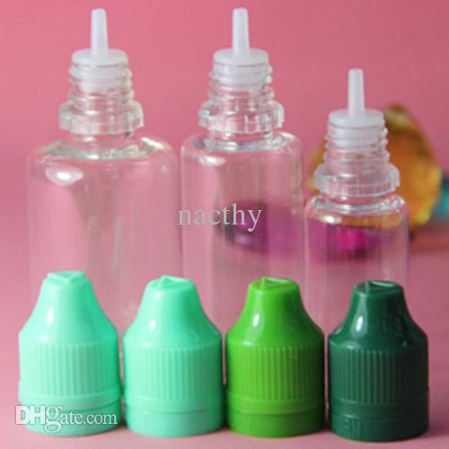 Colorful 5ml 10ml 15ml 20ml 30ml 50ml Vuoto E Bottiglie di plastica con contagocce con tappo a prova di bambino Tappi di bottiglia Punte dell'ago E liquido