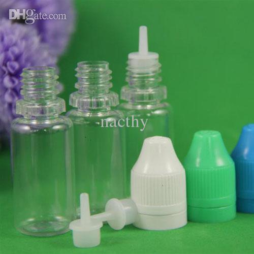 Renkli 500 adet 5ml 10ml 15ml 20ml 30ml 50ml boş E sıvı plastik damlalıklı şişeler çocuk geçirmez şişe kapakları iğne ipuçları e sıvı