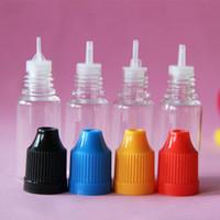 şişeler toptan satış-Renkli 500 adet 5ml 10ml 15ml 20ml 30ml 50ml boş E sıvı plastik damlalıklı şişeler çocuk geçirmez şişe kapakları iğne ipuçları e sıvı