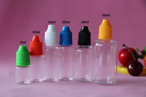 カラフルな500ピース5ml 10ml 15ml 20ml 30ml 50mlの空のE液体プラスチックドロッパーボトル子供プルーフボトルキャップ針のヒントE液体