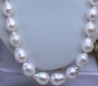 akoya perlen barock großhandel-NEUE feine Perlenschmuck seltene australische riesige 13-15mm Akoya weiß BAROCKE Perlenkette 14K
