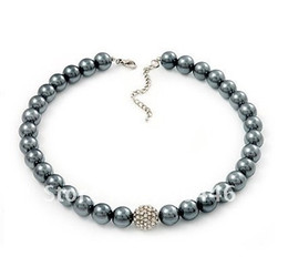 Wholesale Pearls Disco Balls - Grey Faux Pearl and Rhinetone Crystal Disco Ball Beaded Necklace for Women