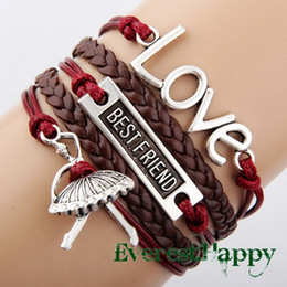 Wholesale Charm Bracelets Dance - infinity bracelets Antique Silver Charm Love Best Friend Dance Girl Braided Brown cord Leather Mixed Bracelet Wristbands jewelry hy1040