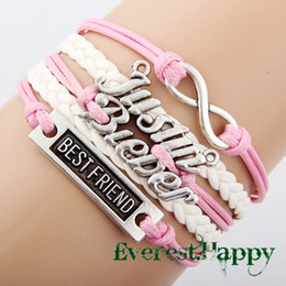Wholesale Infinity Justin Bieber - Antique Silver Sideways Charm Justin bieber Best friend Infinity bracelets Braided Pink Leather Bracelet Wristbands hy1041