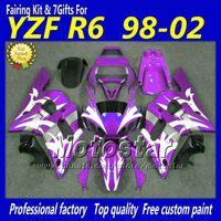 Wholesale 1998 Yamaha R6 Custom - Custom purple white black motorcycle parts for YAMAHA fairing YZFR6 1998 1999 2000 2001 2002 YZFR6 98-02 YZF R6 fairings kit +5 Gifts hb28
