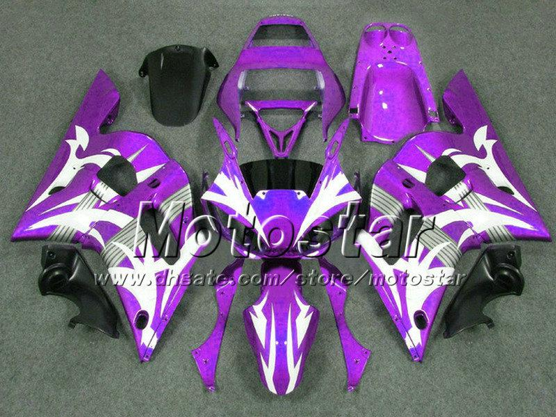 Piezas de motocicleta negras blancas púrpura personalizadas para carenado YAMAHA YZFR6 1998 1999 2000 2001 2002 YZFR6 98-02 YZF R6 kit de carenados