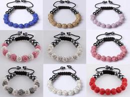 Wholesale Pave Diamond Bracelet Wholesale - Wholesale - Best price shamballa bracelet 11pcs 10mm Clay crystal Pave Disco Ball braid bracelets Jewelry
