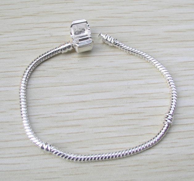 Helt ny 16-21cm silverpläterad ormkedja för europeisk armband mode smycken diy