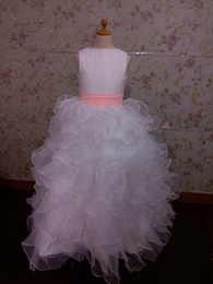 Wholesale Cover Photo New Flower - Free shipping New White Organza floor length tired covered buton Flower girl Dresses
