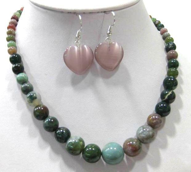 Vendita calda! i-6-14mm verde / rosso / viola / giallo giada / pietra occhio di tigre / collana di agata orecchini gioielli set