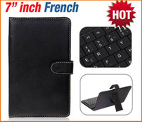 Wholesale Mini Usb Keyboard Cover - French Letter Layout 7 Inch Micro Mini USB 2.0 Keyboard + Folding PU Leather Protective Case Cover FOR Tablet PC or MID