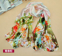 Wholesale Wholesale Silk Tops For Women - 2015 New Imitated Silk Scarf For Wmen Korean Style Scarves Top Grade Lady's Scarfs Rose Pattern