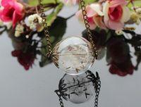 Wholesale 25mm Flower Beads - 15pcs 25MM Real Flower Dandelion Seed Necklace-Dandelion Necklace -Make A Wish -Glass Bead Orb Transparent Round Beadwork-Specimen necklace