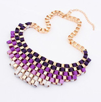 Wholesale Exaggerated Bib Necklace - Free Shipping Fashion Temperament Exaggerated Bib Multicolor Chokers Necklace women Dress Jewelry