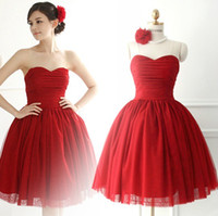 Wholesale perfect prom - Perfect Red Chiffon Short Bridesmaid Dresses Sweetheart Neck Pleats Lace up Back Prom Party Dresses