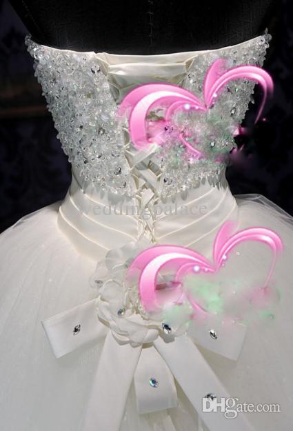 Heißer verkauf schimmer organza applikationen viele perlen schloss a-line rüschen brautkleider glitter pailletten schnüren schatz blumen kleider