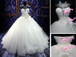 Wholesale Gold Shimmer Dress - Hot selling shimmer organza appliques many beaded castle A-Line ruffles wedding dresses glitter sequins lace-up sweetheart flowers gowns