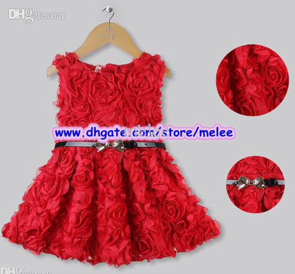 2017 Hot Sale Kids Christmas Dresses Girls Red Rose Dress With ...