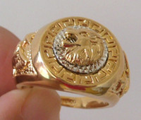 Wholesale Man Ring 18kgp - Men Jewelry; Men's Ring; 18KGP Yellow Gold ;Lion's Head Ring.free shipping.