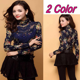 Wholesale Turtleneck Women Lace - Celebrity Fashion Girl&Women's Slim Warm Lace Velvet Crochet Embroidery Floral Turtleneck Long Sleeve Blouses Bottoming Tops Tee Shirt New