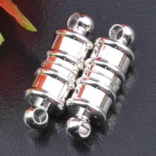 Envío gratis 17 x 6 m cobre chapado blanco k pulsera Envío gratis 17 * 6 MM imán, colores de rodio K broche magnético pulsera de joyería de moda