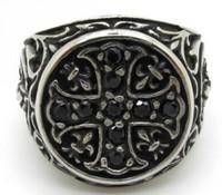 Wholesale stainless ring fleur lis - Vintage Style Black Zircon CZ Crystals Ring, Fancy Design Flower Stainless Steel Black Fleur De Lis Cross Ring New Gift Jewelry