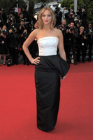 Celebrity Sexy abiti in bianco e nero raso del fodero sweep treno Jennifer Lawrence 66 ° Festival di Cannes Red Carpet Doutzen Kroes Canne