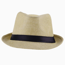 Wholesale Vintage Cowboy Hats - Vintage Panama Straw Hat Beige Men Fedora Summer Stingy Brim Cap Fit Beach Travel ZDS4