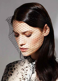 Vintage Veils Headpieces Canada - Vintage Simple Chic Cheap Black Net Headpiece Head Veil Wedding Bridal Accessories