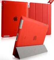 ipad smart hart großhandel-NEU PU Ledertasche Smart Cover für iPad Air Air 2 iPad 2 3 4 5 6 iPad Mini Mini 2 Mini 4 mit kristallklarem Hart-PC-Rückgehäuse