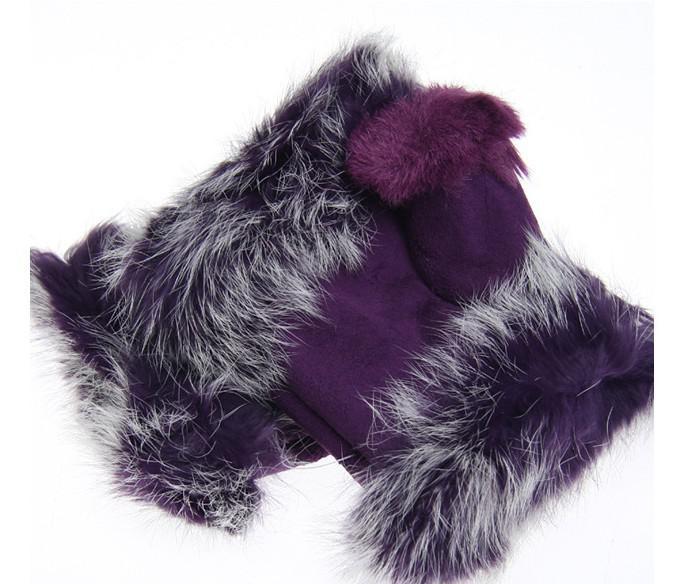 Partihandel - Vacker kaninpälshandskar damens vinterfingerfria mmulti-färgade halvfingers handskefri frakt
