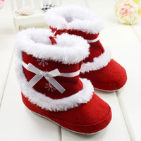 ingrosso scarponi da neve rossi per bambini-Inverno Baby Snow Boots Hot Red Capodanno Natale 0-24M First Walker Shoes Infant Toddler Girls Princess Shoes 11.5-12.5-13.5 QZ172