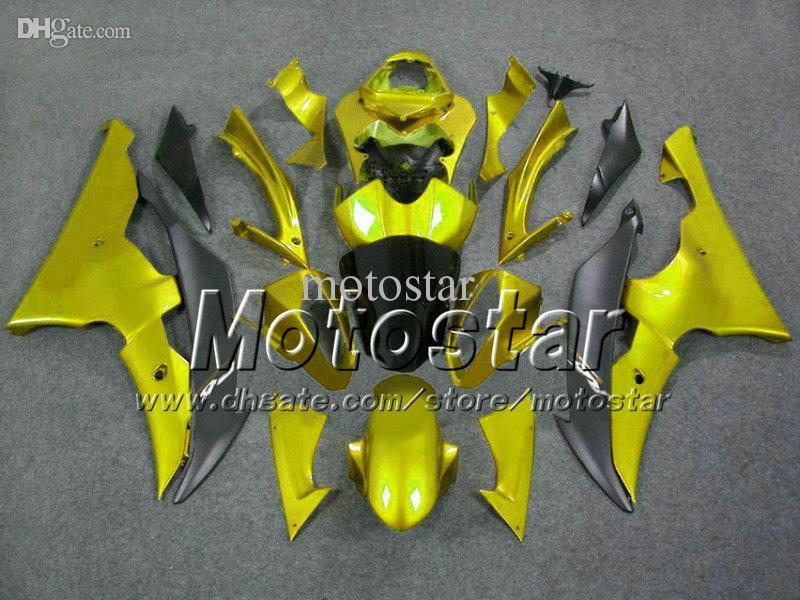 Venta caliente negro piezas de la motocicleta de oro para YAMAHA carenado YZF-R6 2008 2009 2010 YZFR6 YZF R6 08 09 10 YZFR600 carenado kit Vf23