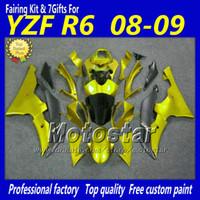 yamaha motosiklet fairings satışı toptan satış-Sıcak satış siyah altın YAMAHA kaporta için motosiklet parçaları YZF-R6 2008 2009 2010 YZFR6 YZF R6 08 09 10 YZFR600 marangozluk kiti Vf23