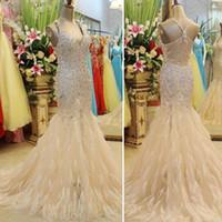 kristal korsan denizkızı balo elbisesi toptan satış-Custom 2017 2017 Muhteşem Boncuklu Kristal Korse Mermaid V Yaka Pageant elbise / Parti Gelinlik Modelleri Xi09