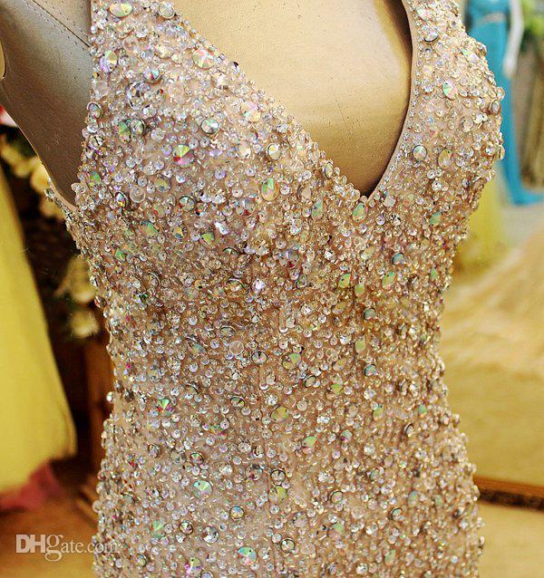 Por encargo 2017 magnífico abalorios corpiño de cristal sirena V escote vestidos del desfile / fiesta vestidos de fiesta Xi09