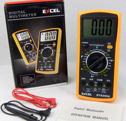 Wholesale Digital Ac Voltmeter Ammeter Dc - LCD Digital Multimeter AC DC VOLT Meter Voltmeter Ohmmeter Ammeter DT9205A Handheld Tester digital professional Multimetro Meter Ammeter