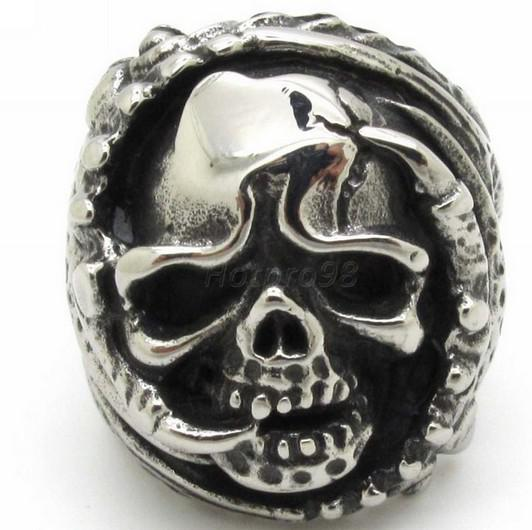 Horrible Monster Claw Evil Skull Rings Rock Punk Biker Band Jewelry, Best Nice Gift 316L Stainless Steel Man Jewellery