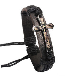 Wholesale Wholesale Black Jewelry Boxes - Cross Bible Charm Braided Bracelet Urban Jewelry Handmade Black Genuine Leather Adjustable Wristband retro Jewelry Wholesale