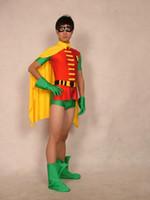 Wholesale Scary Zentai Costume - Halloween cospaly Jason Todd Version Robin Spandex Superhero Costume lycra zentai costumes