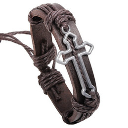 Wholesale Cross Bracelet Rope - New Arrival Hallow out Cross Urban Jewelry Charm Bracelet Handmade Genuine Leather Wristband retro religious Jewelry Wholesale