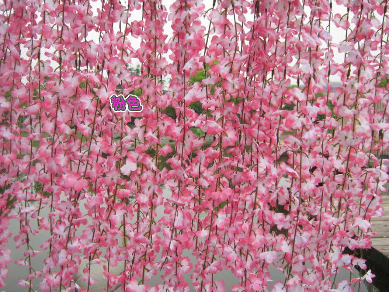 silk flower vines Simulation Cherry Blossom vine artificial flowers rattan string wedding home decorations fake flower vine 33