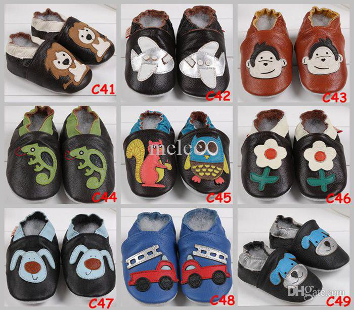 Big Discount Baby Infant Toddler Animal Soft Sole Leather Shoes 100% Cow Leather Baby First Walker Shoes For 0-2T,Choose Color & Size Free