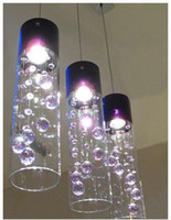 Wholesale Contemporary Glass Shade Pendant Light - Glass Shade Crystal Ceiling Lighting Pendant Lamp Light x 1 (Purple Clear)